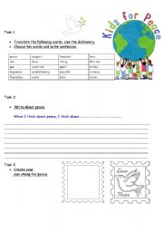 English Worksheets: Kids for peace 1/ Create your own PEACE STAMP