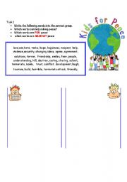 English Worksheets: Kids for peace 2/ My peace dove