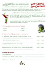 English Worksheet: The Grinch - reading comprehension