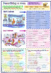 English Worksheet: Describing a room: prepositions, there is/ are