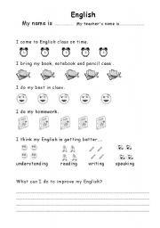 English Worksheet: self evaluation page