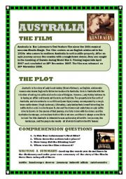English Worksheet: AUSTRALIA the movie (READING COMPREHENSION/WRITING A SUMMARY)