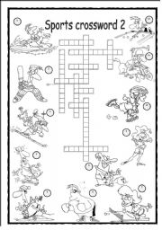 English Worksheet: Sports Crossword 2