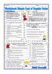 English Worksheet: Worksheet: Simple past of Regular Verbs