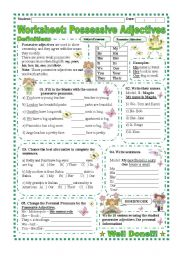 English Worksheet: Worksheet: Possessive Adjectives/ explanation and exercise
