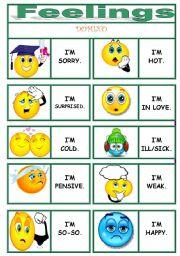 English Worksheets: FEELINGS dominoes !!!!!!!!!!!!!!!! 1/3