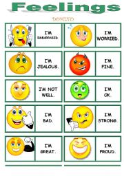 English Worksheets: FEELINGS dominoes !!!!!!!!!!!!!!!! 2/3