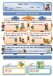 English Worksheet: DEMONSTRATIVES AND WILD ANIMALS - PAGE 1