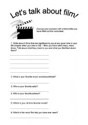 English Worksheets: Let�s talk about FILM!