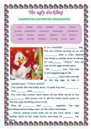 English Worksheet: THE UGLY DUCKLING - WORKSHEET VOCABULARY- 2 PAGES