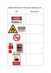 safety signs and symbols worksheets kidz activities. Black Bedroom Furniture Sets. Home Design Ideas