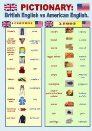 English Worksheet: British English vs American English - PICTIONARY Part 1