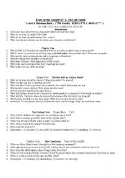 English Worksheets: Comprehension Questions for each chapter of