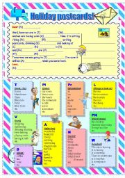 English Worksheet: Holiday Postcards (with some parts of speech)