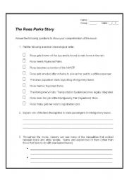 Printables Rosa Parks Worksheets english teaching worksheets rosa parks the story movie