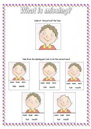 English Worksheets: The Face : What�s missing?
