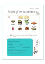 English Worksheet: function - ordering food in restaurant