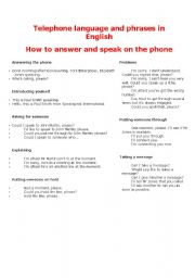 English Worksheets: Telephone language and phrases in English