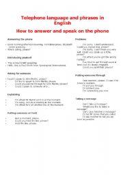 English Worksheet: Telephone language and phrases in English