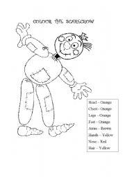 English Worksheets: Scarecrow Colour Body