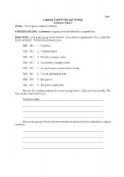 English Worksheets: Sentence Basics Page 1