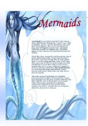 English Worksheets: Mermaids: reading comprehension