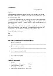Read the letter and answer
