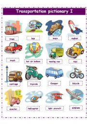 English Worksheets: TRANSPORTATION PICTIONARY 1