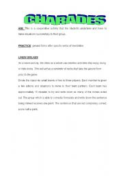 English Worksheet: charades