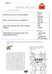 english worksheets chinese new year. Black Bedroom Furniture Sets. Home Design Ideas