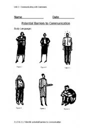 English Worksheets: Barriers to Communication/ Body Language