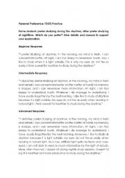 English Worksheet: TOEFL Speaking: example responses