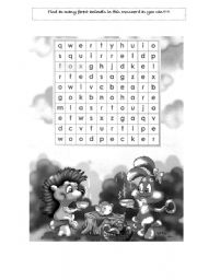 English Worksheets: Forest Animals Wordsearch Puzzle