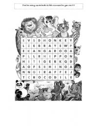 English Worksheet: Zoo animals wordsearch puzzle