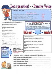 English Worksheets: LET�S PRACTICE! - - PASSIVE VOICE