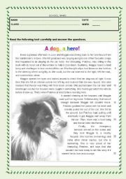 English Worksheets: Test - A dog, a hero