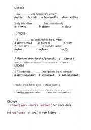 English worksheet: present perfect