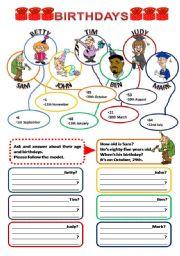 English Worksheet: BIRTHDAYS