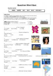 English Worksheets: Question words quiz
