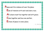 English Worksheets: Peace acrostic
