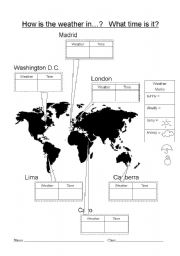 English Worksheet: How is the weather in...?  What time is it?  Class interview game (worksheets and cards)