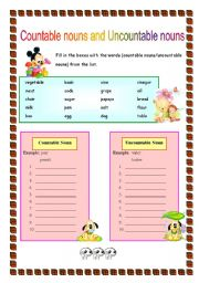 English Worksheets: Countable nouns and Uncountable nouns