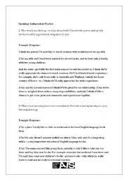 English Worksheets: TOEFL Speaking