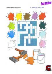 English worksheet: Colours Crosswords
