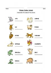 Chinese Zodiac Animal Word Scramble