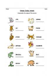 English Worksheet: Chinese Zodiac Animal Word Scramble