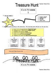 English Worksheet: TREASURE HUNT  -PART 1