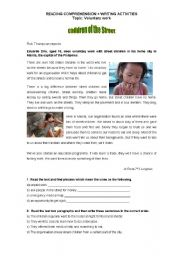 Worksheet -Voluntary work - reading comprehension + writing activities