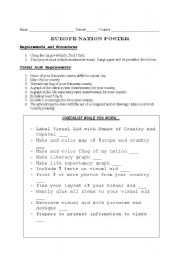 English Worksheet: Europe poster project