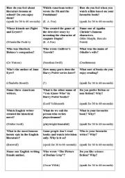 English Worksheets: LITERATURE QUESTIONS (FACTS AND CONVERSATION)